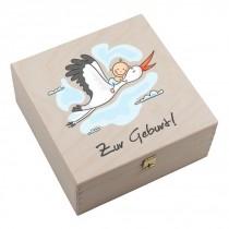 """Hufeisen-Box mit Motiv """"Zur Geburt"""""""