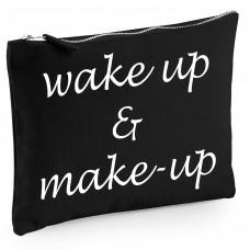 Baumwoll Canvas Kosmetiktasche - Kulturbeutel - Schminktasche Modell: wake up and make-up