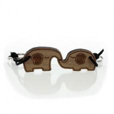 Partner Set Schlüsselanhänger aus Holz - Modell: Küssende Elefanten