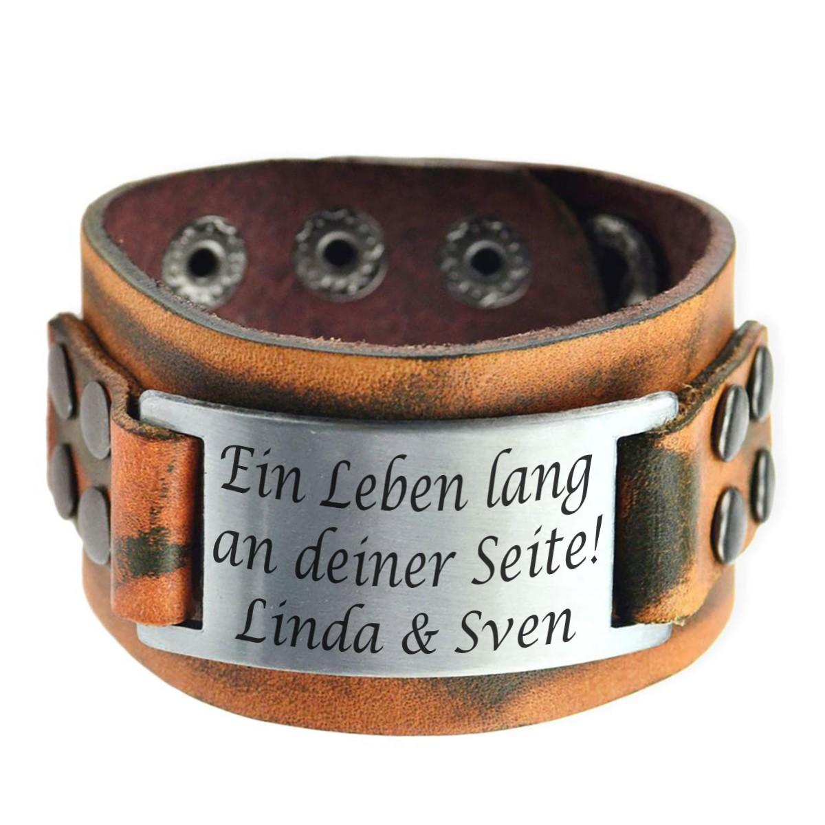 Edelstahl Armband mit Gravur Wunschgravur auf Gravurplatte