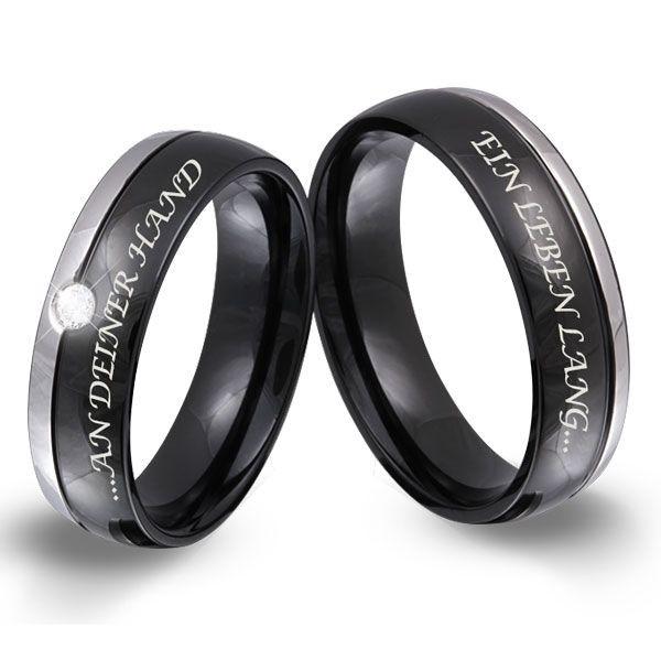 Zwei elegante Freundschaftsringe, Verlobungsringe. In Schwarz / Silber gehalten. Damenring mit Stein