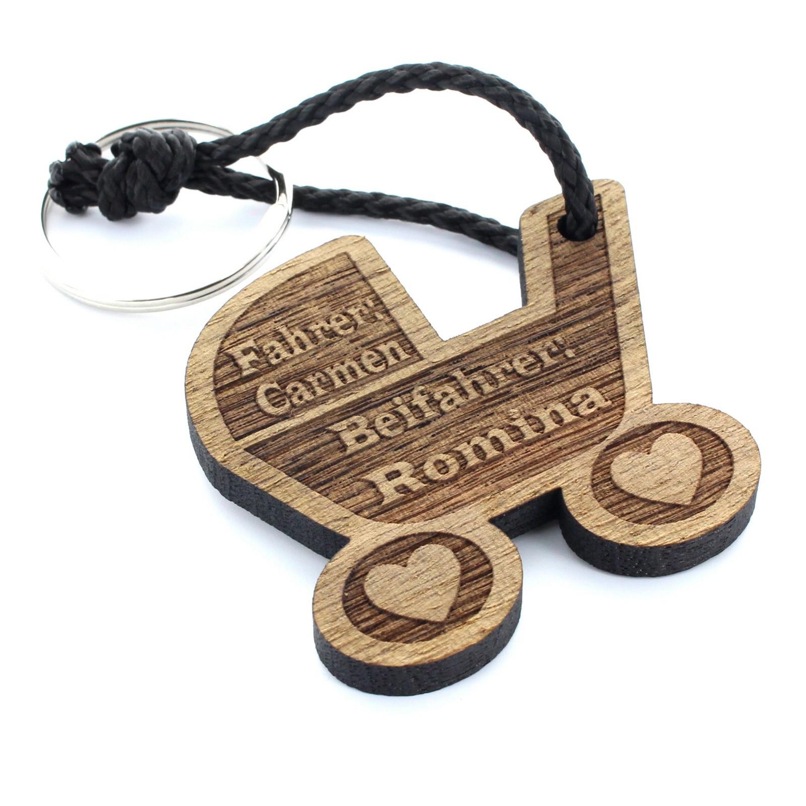 Gravur Schlüsselanhänger aus Holz - Modell: Kinderwagen