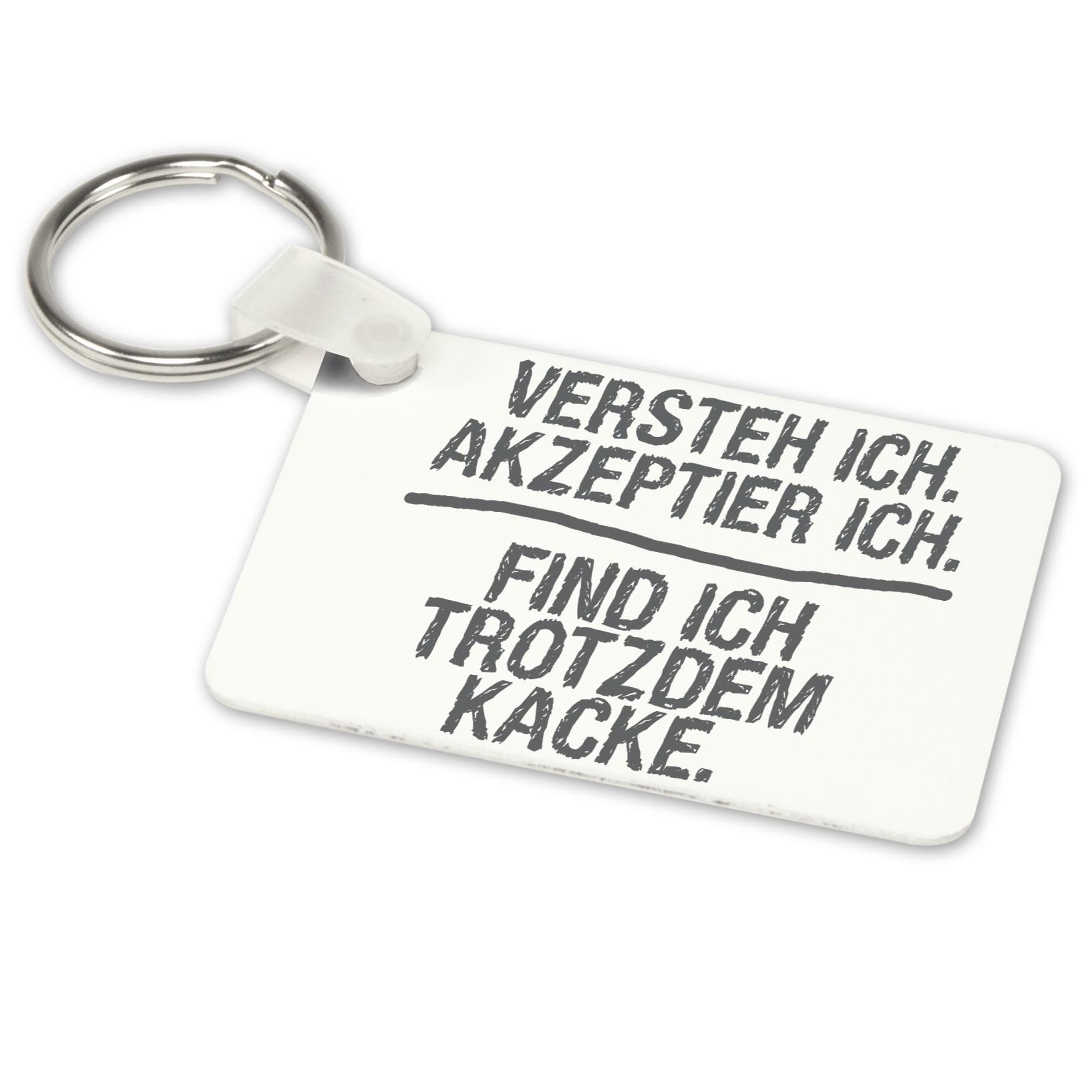 Alu-Schlüsselanhänger weiß - Modell: Versteh ich…