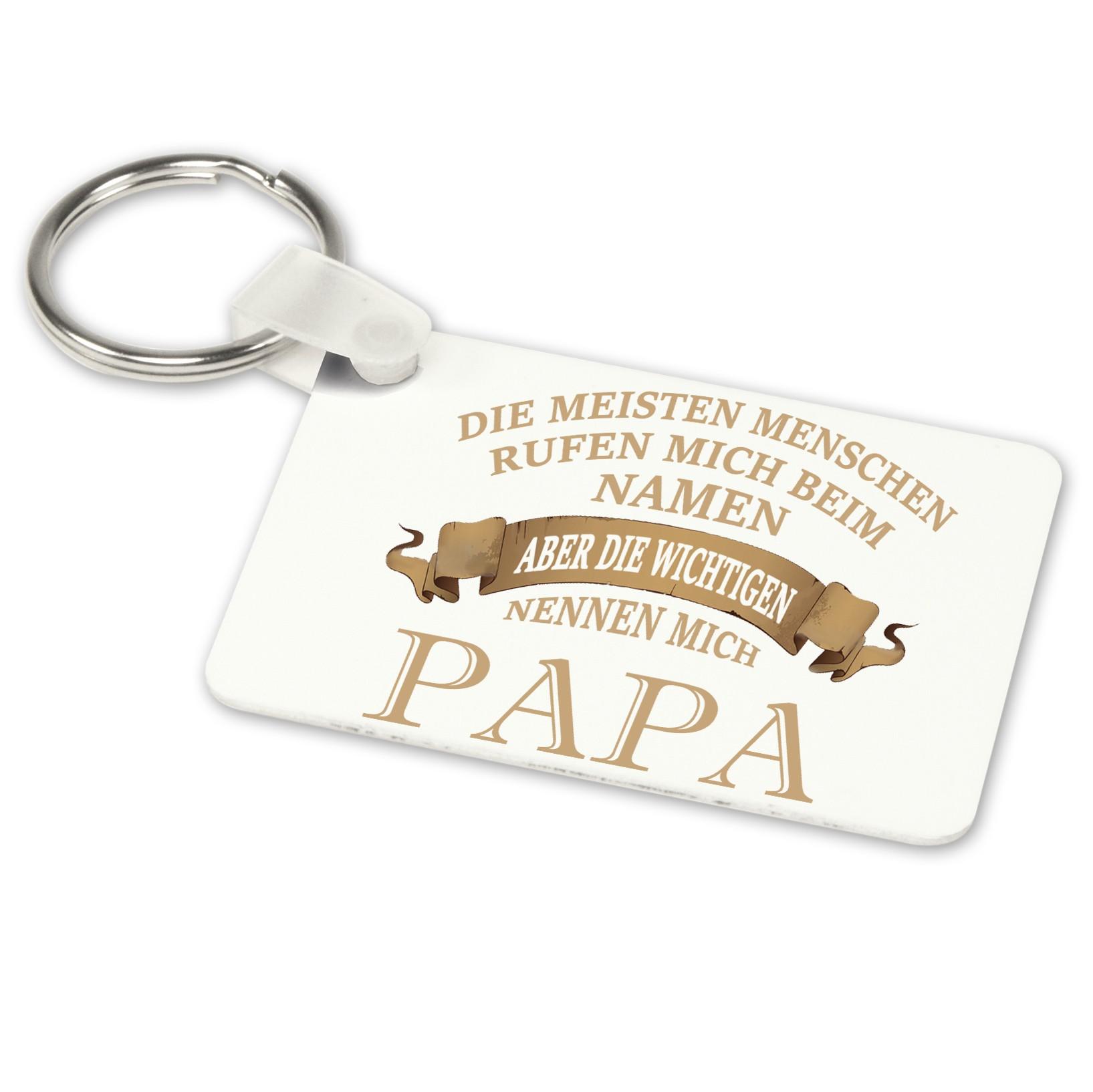 Alu-Schlüsselanhänger weiß - Modell: Die wichtigen nennen mich Papa