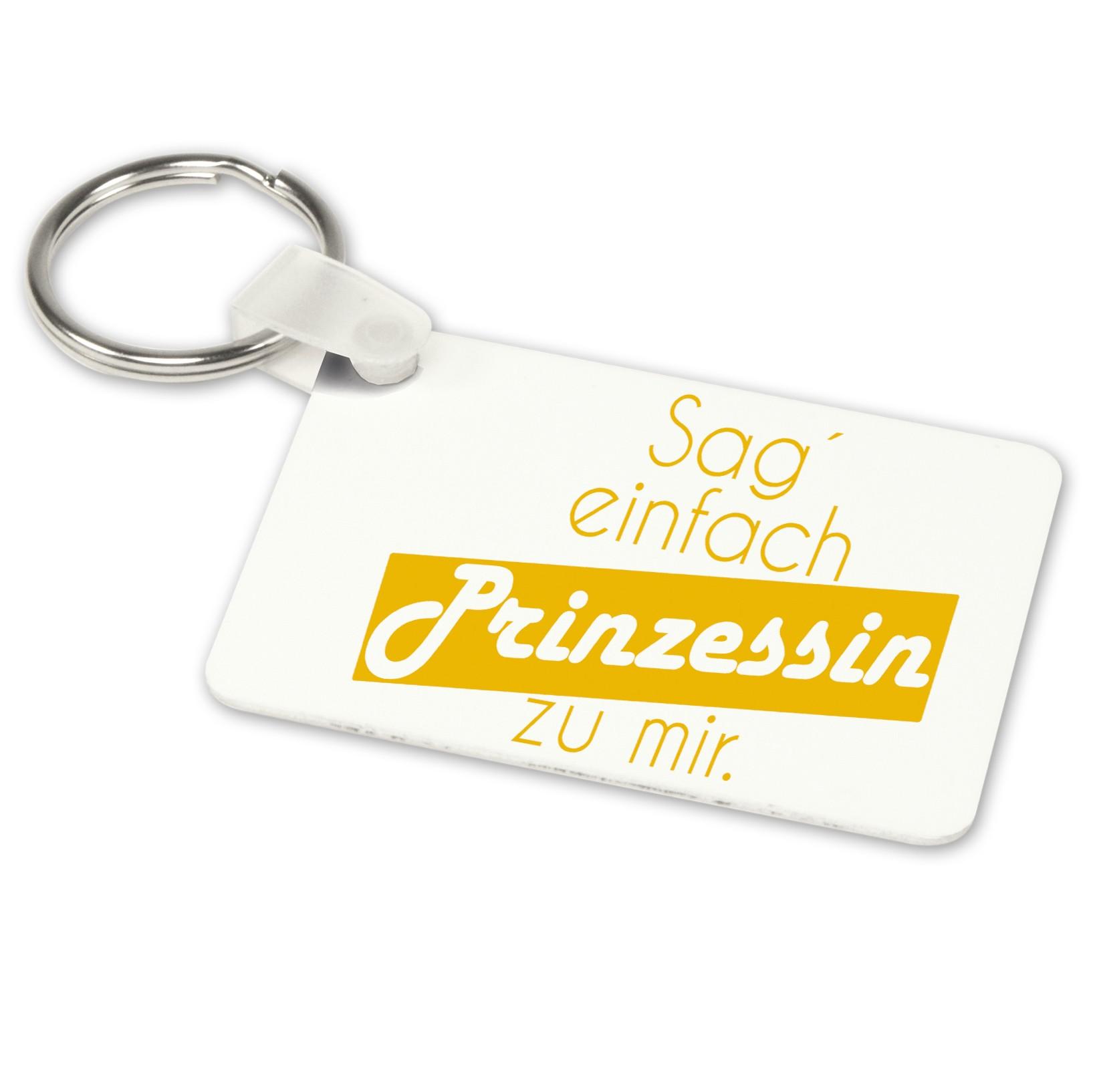 Alu-Schlüsselanhänger weiß - Modell: Sag´einfach Prinzessin zu mir