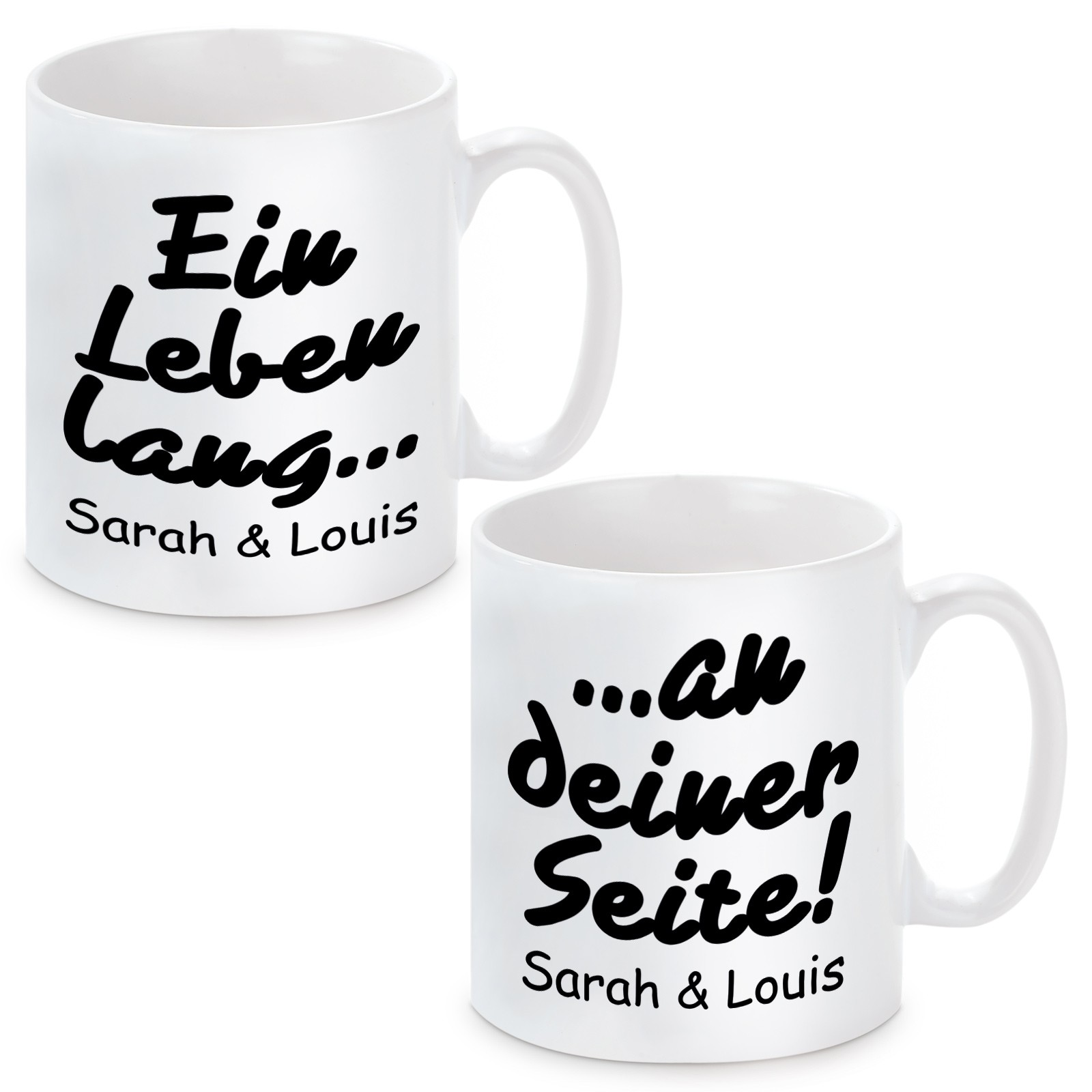 2er Set Tassen individualisierbar Modell: Ein Leben lang an deiner Seite