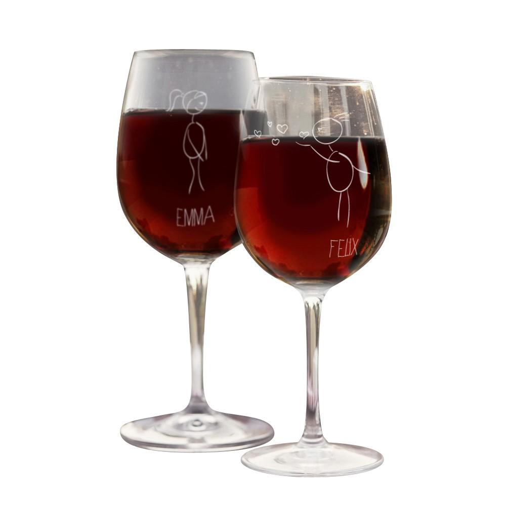Weinglas mit Stichzeichnung