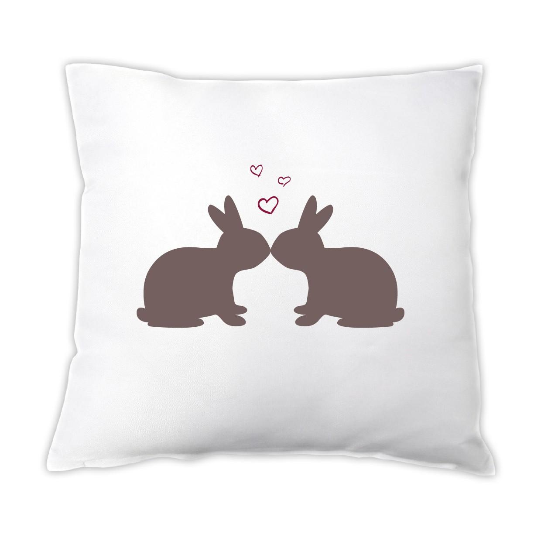Osterkissen küssende Hasen