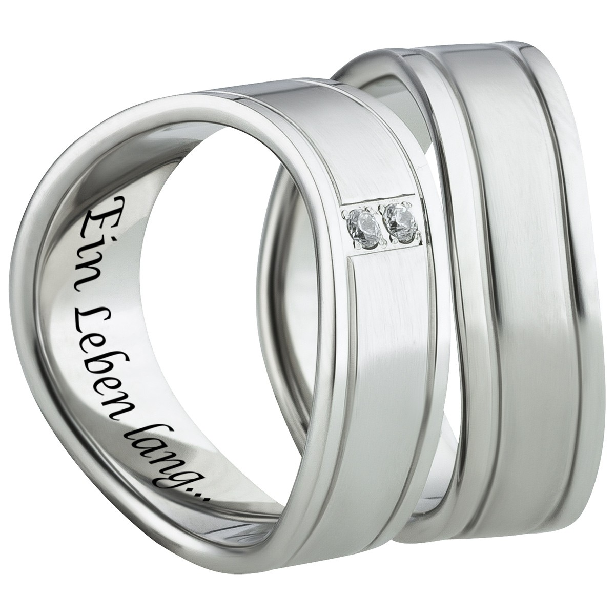 Graviertes Partner Ring Set