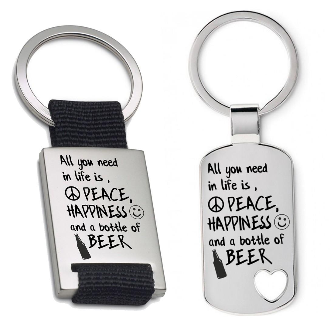 Schlüsselanhänger: Peace, happyness & beer