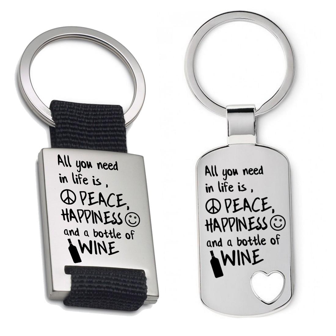 Schlüsselanhänger: Peace, happyness & wine