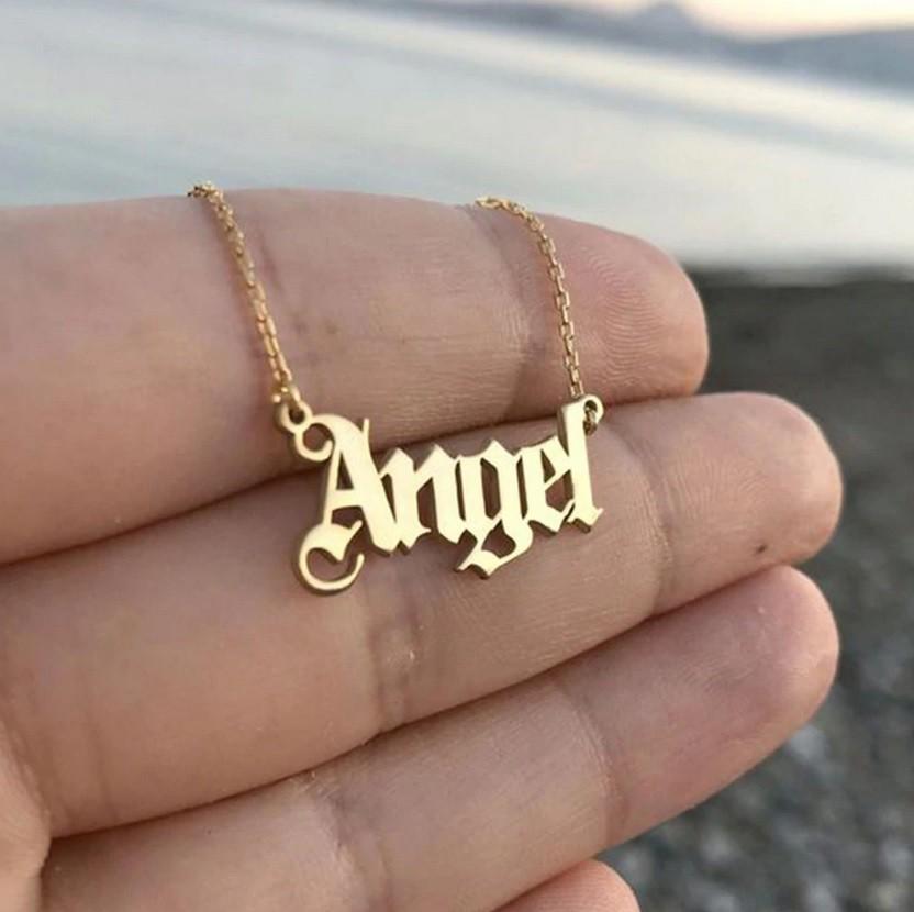Halskette mit Angel / Engel Aufschrift