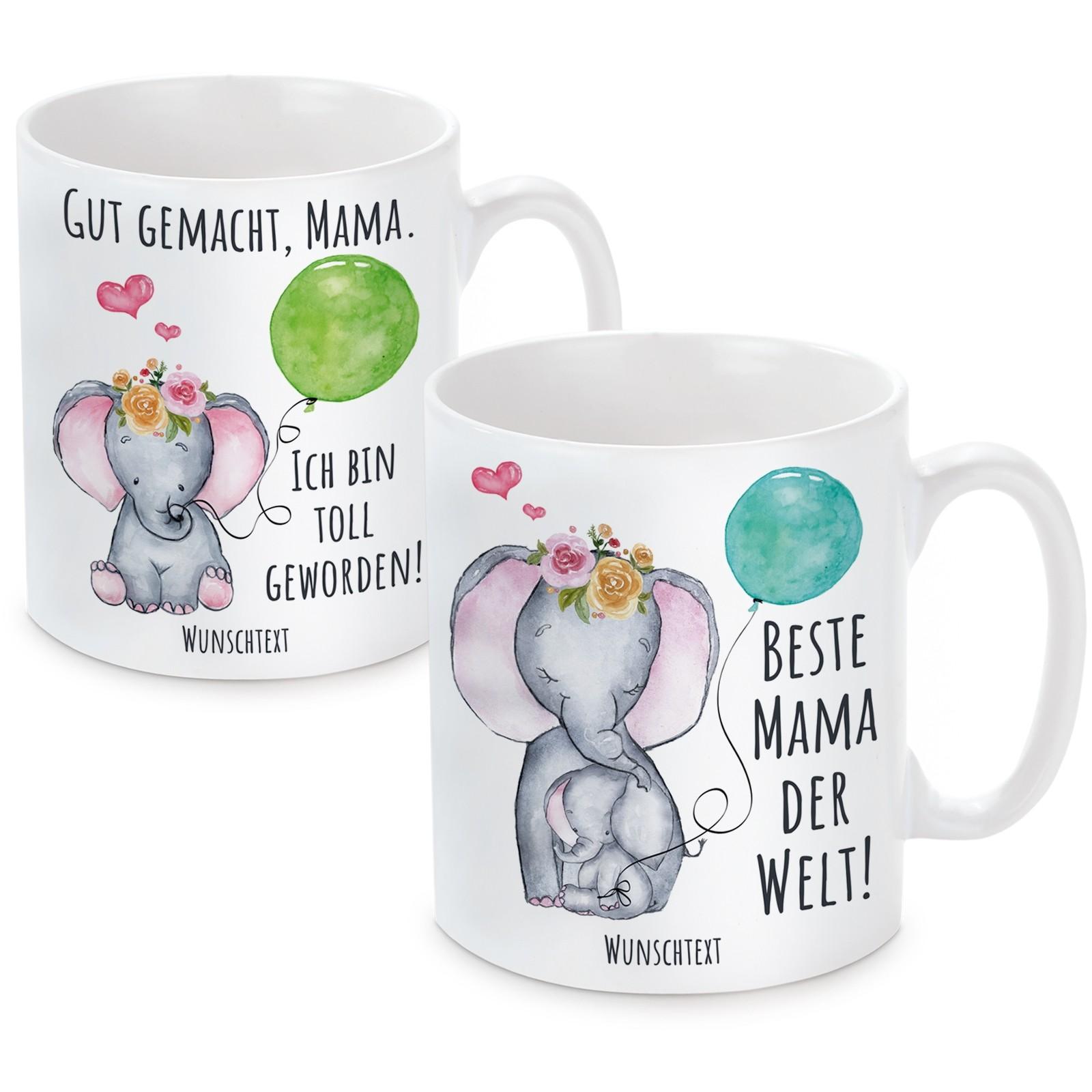 Set (2 Stück) -Tasse mit Motiv - Beste Mama der Welt! - Gut gemacht Mama. Ich bin Toll geworden! (personalisierbar)