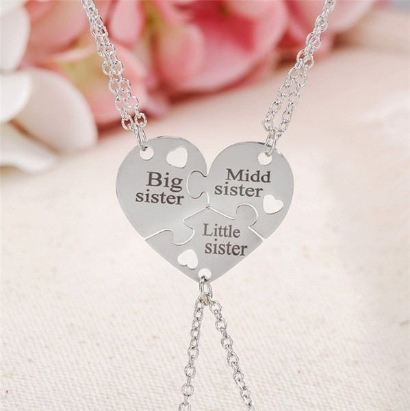 Big Sis Middle Sis Little Sis 3 Stk. Schwestern Halsketten 2 Varianten