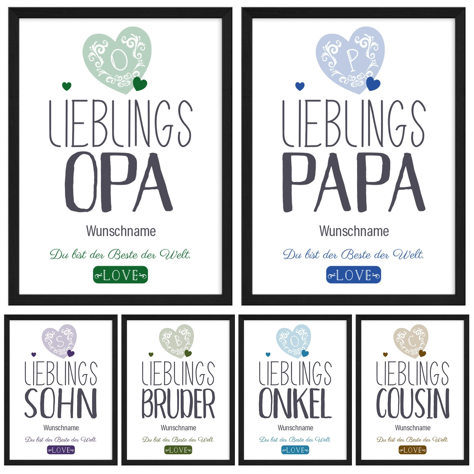 Wandbild: Lieblings- Opa / Papa / Bruder / Sohn / Onkel / Cousin. (personalisierbar)