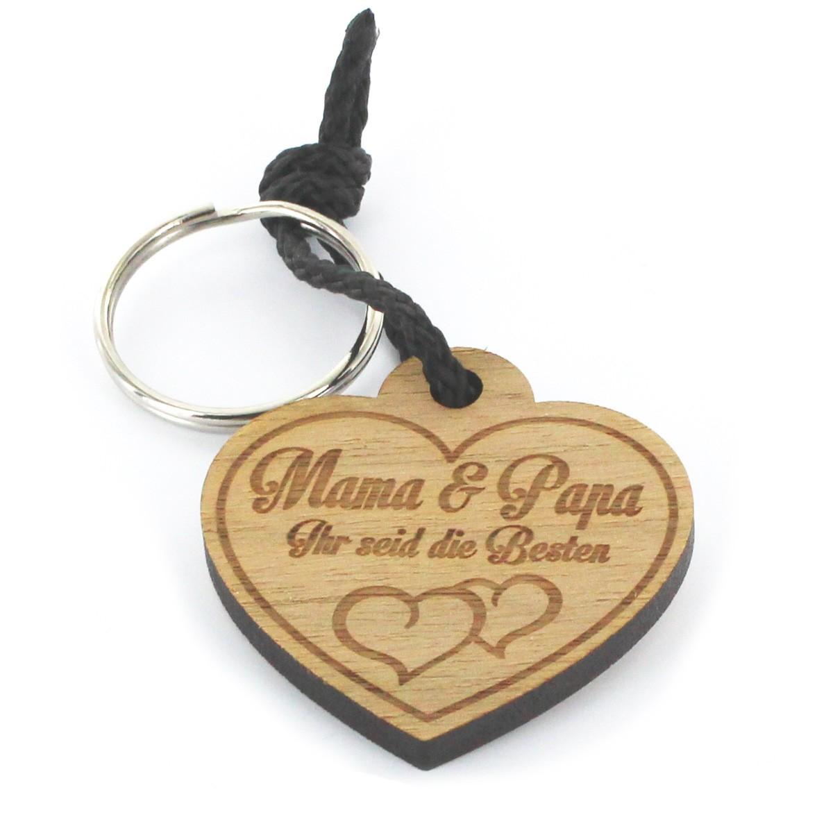 Gravur Schlüsselanhänger aus Holz - Modell: Mama & Papa