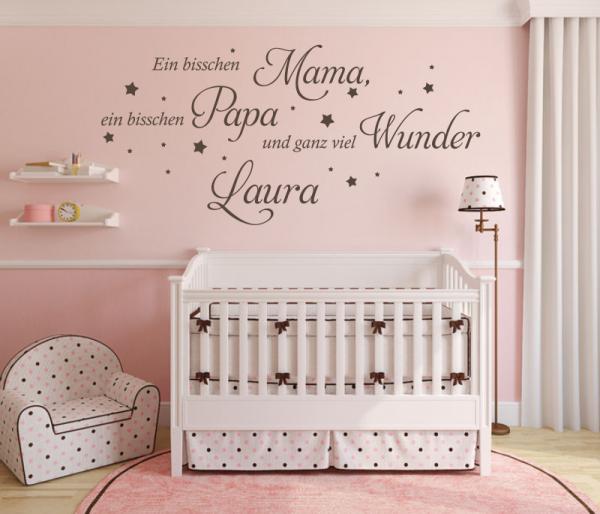 Wandtattoo Ein bisschen Mama, Papa (Wunschname) Design 2