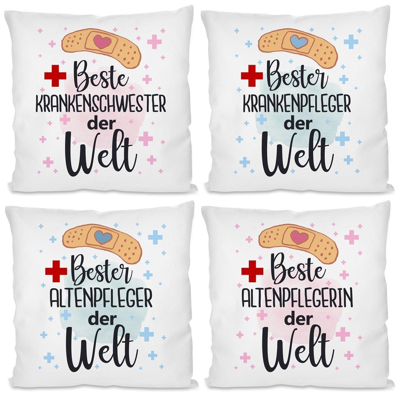 Kissen mit Motiv - Beste / bester Krankenschwester / Krankenpfleger / Altenpfleger / Altenpflegerin der Welt.