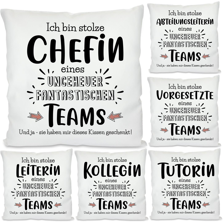 Kissen: Ich bin stolze Chefin / Abteilungsleiterin / Vorgesetzte / Leiterin / Tutorin / Kollegin