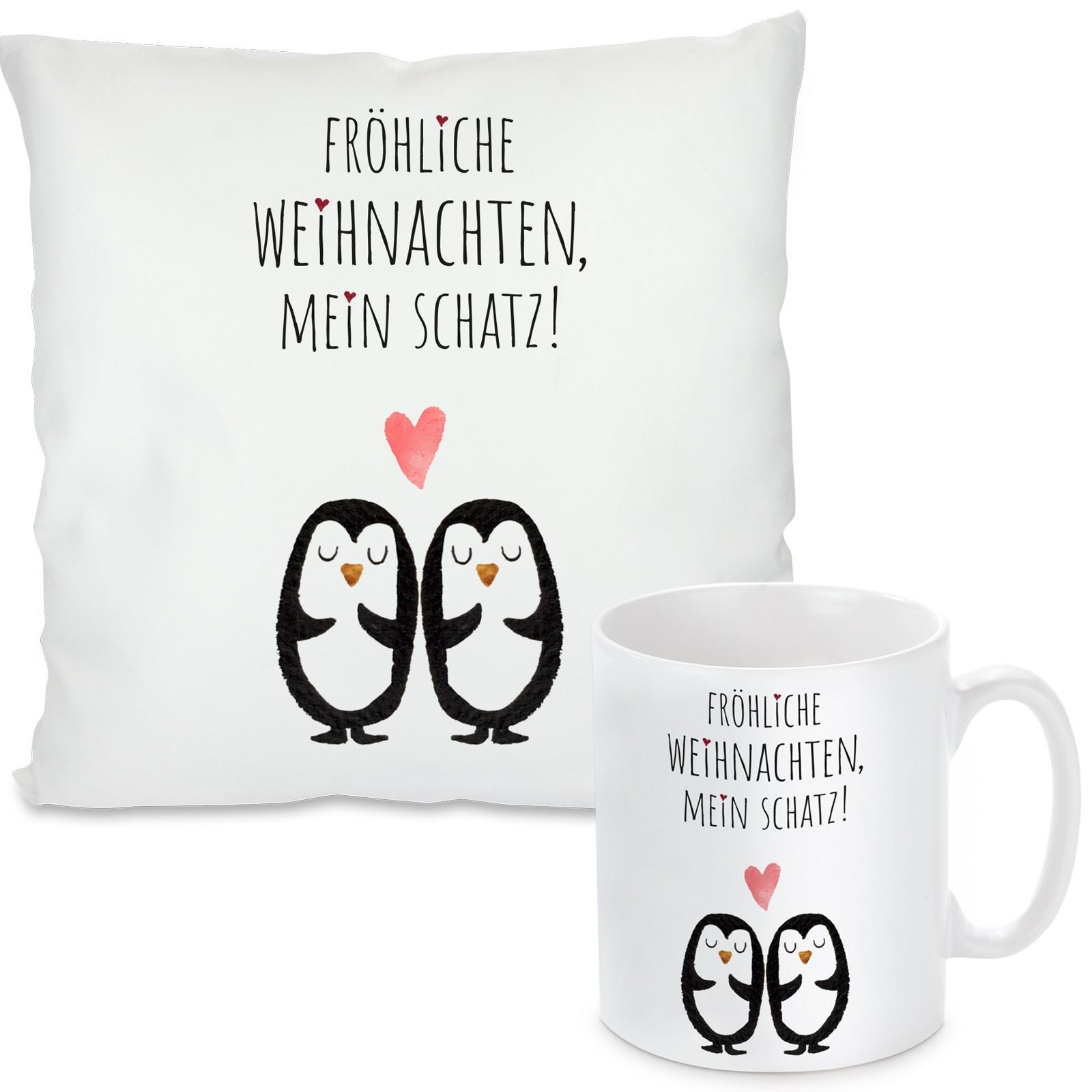 Kissen oder Tasse mit Motiv - Pinguine (personalisierbar)