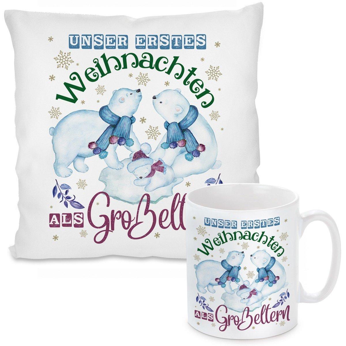 Kissen oder Tasse mit Motiv - Unser erstes Weihnachten als Großeltern.
