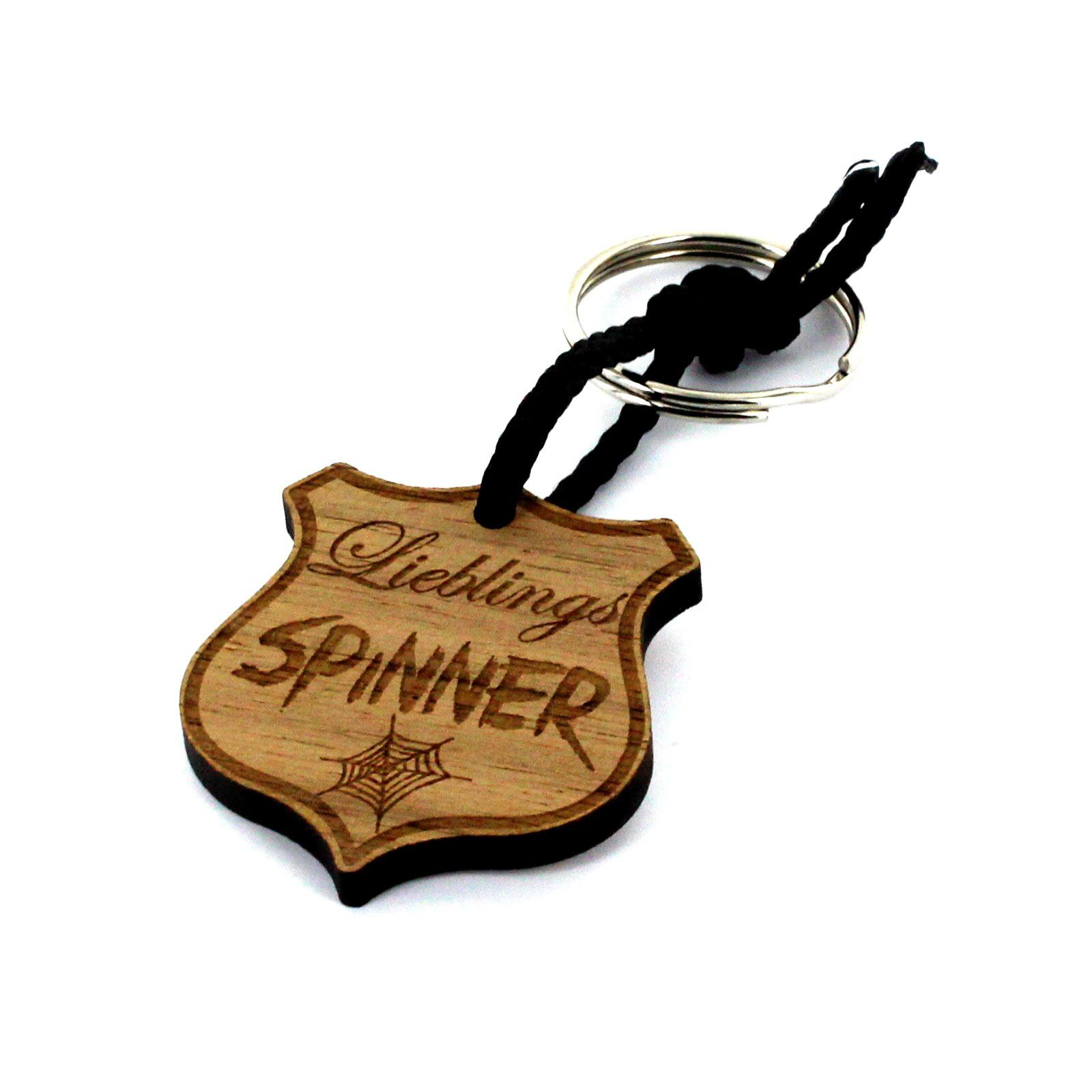 Gravur Schlüsselanhänger aus Holz - Modell: Lieblingsspinner