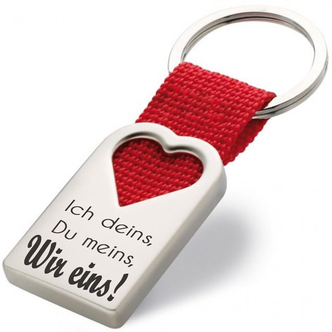 Metall Schlüsselanhänger Modell: Ich deins, Du meins, Wir eins