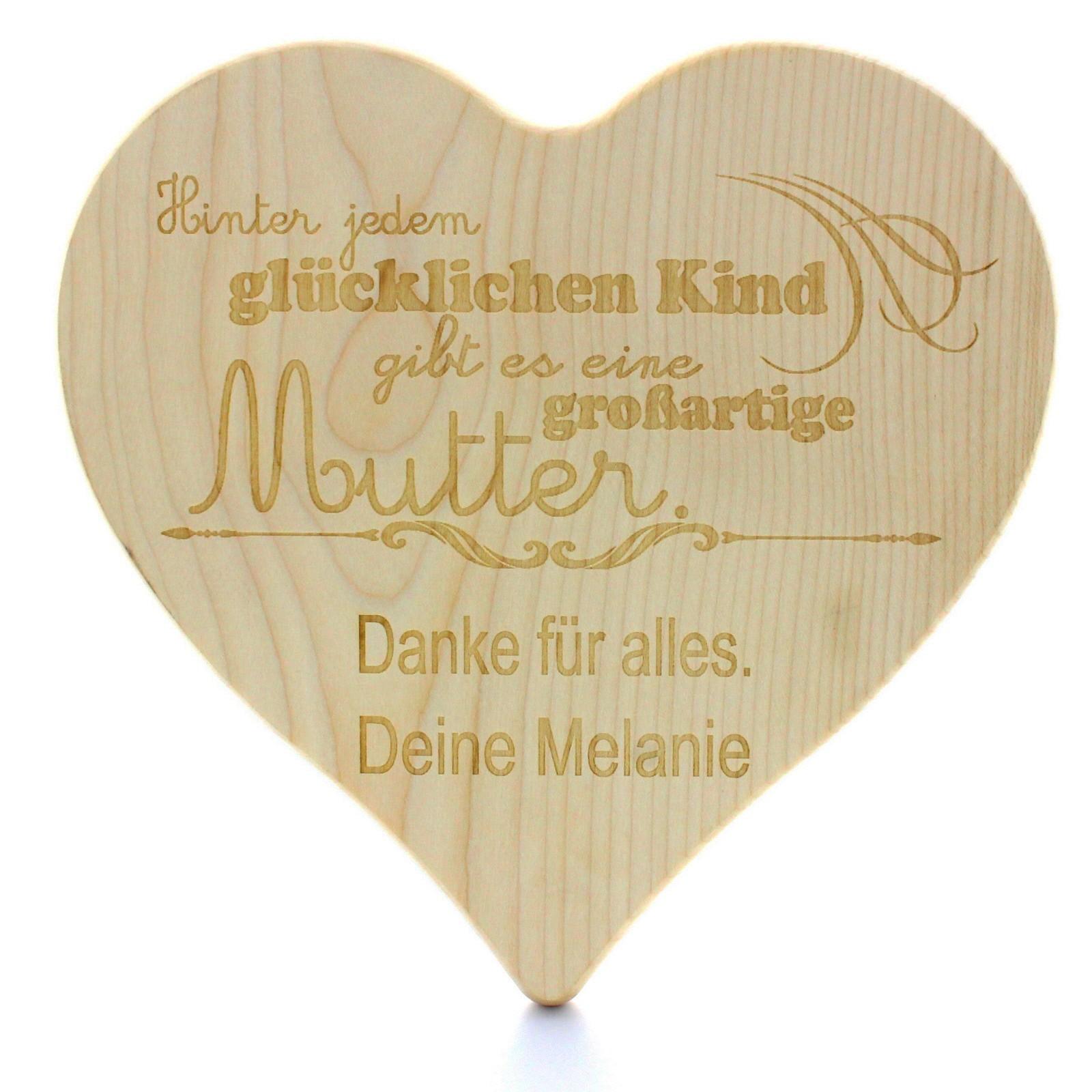Gravur Holz Schneidebrett in Herzform - Modell: großartige Mutter