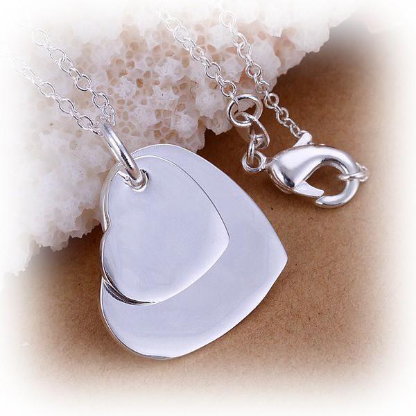 Halskette mit silber Doppelherz Anhänger