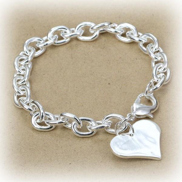 Armkettchen Gliederkette mit Herz Anhänger aus Silber