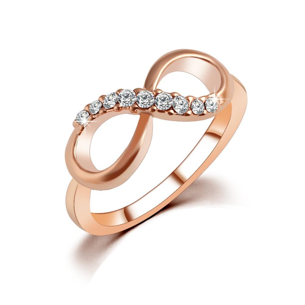 Damenring Infinity mit Strass Steinen - goldfarbig