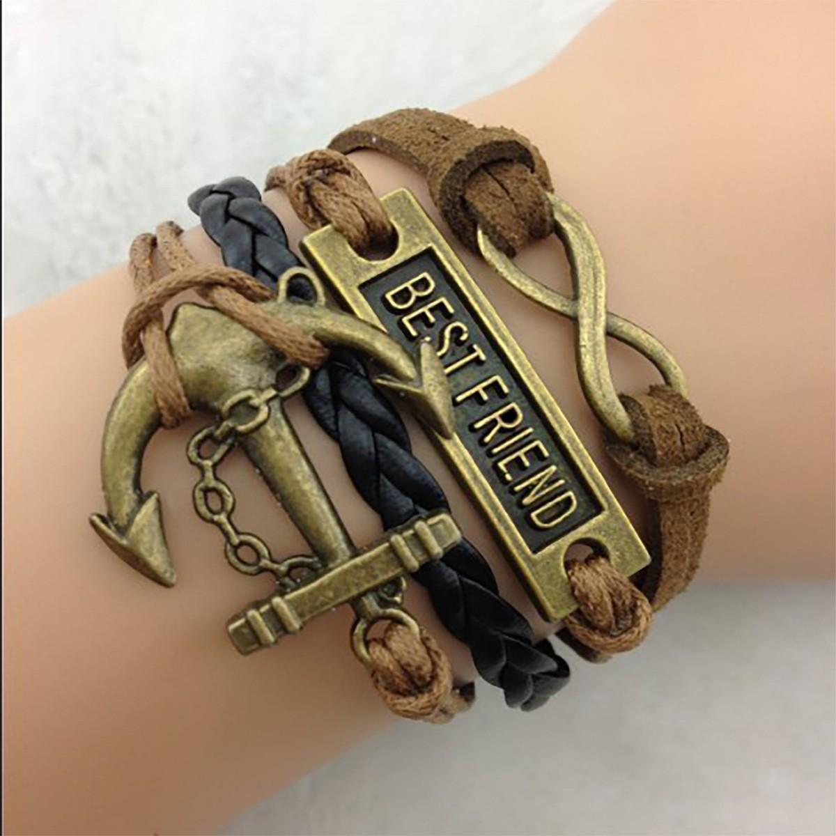 Armband Best Friend mit Anker und Unendlichkeitszeichen