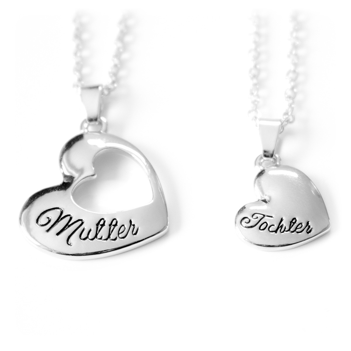 Mutter und Tochter Halskette / Herzkette