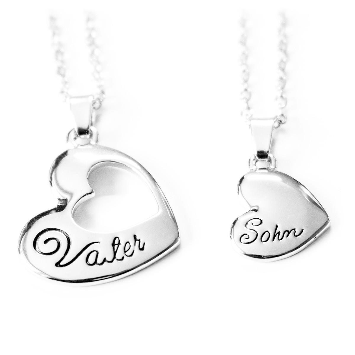 Vater und Sohn Halskette / Herzkette
