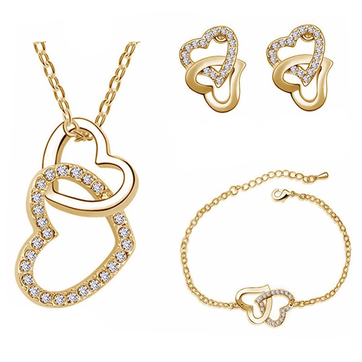 Schönes Schmuckset / Halskette, Armband und Ohrringe - goldfarbig
