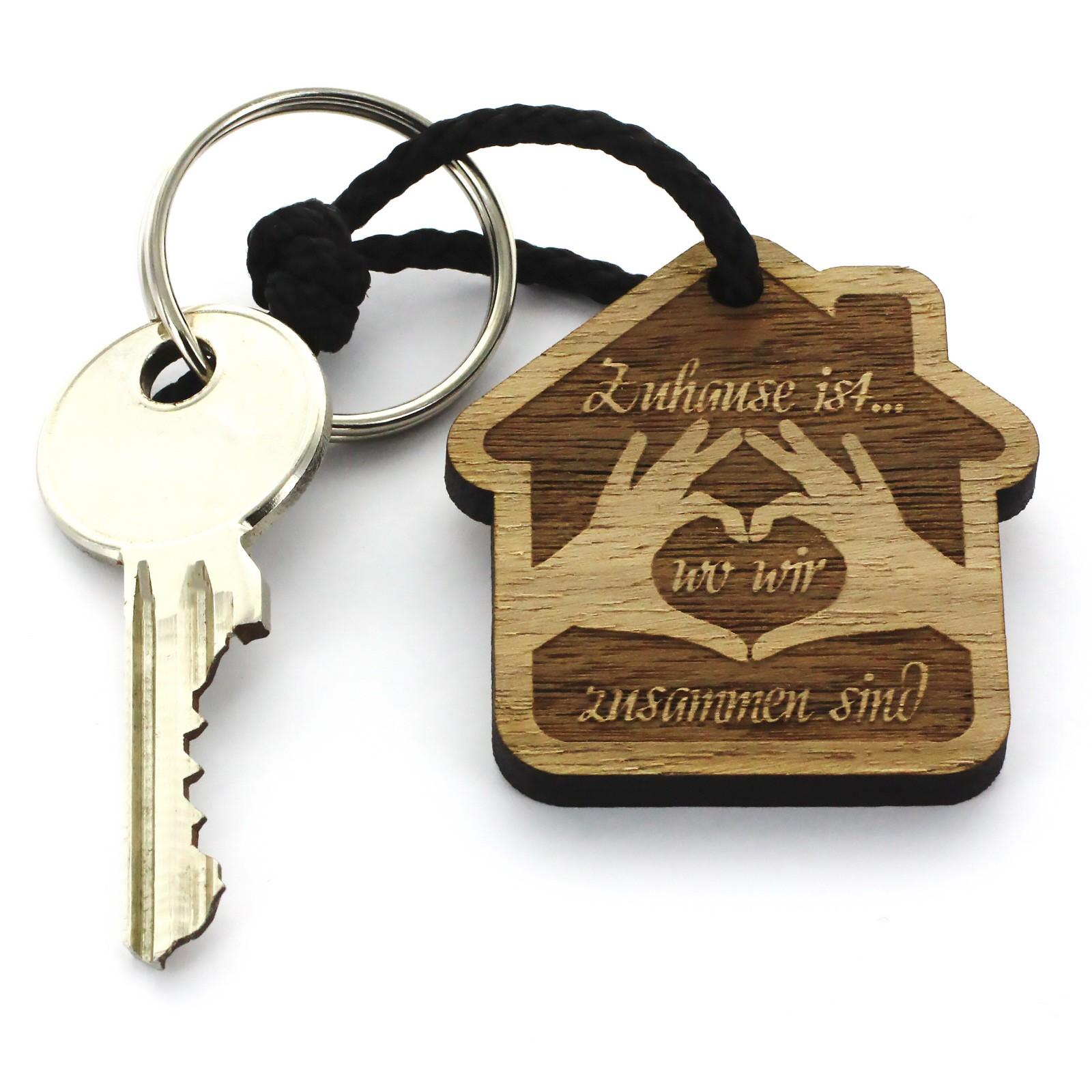 Gravur Schlüsselanhänger aus Holz - Modell: Zuhause ist...