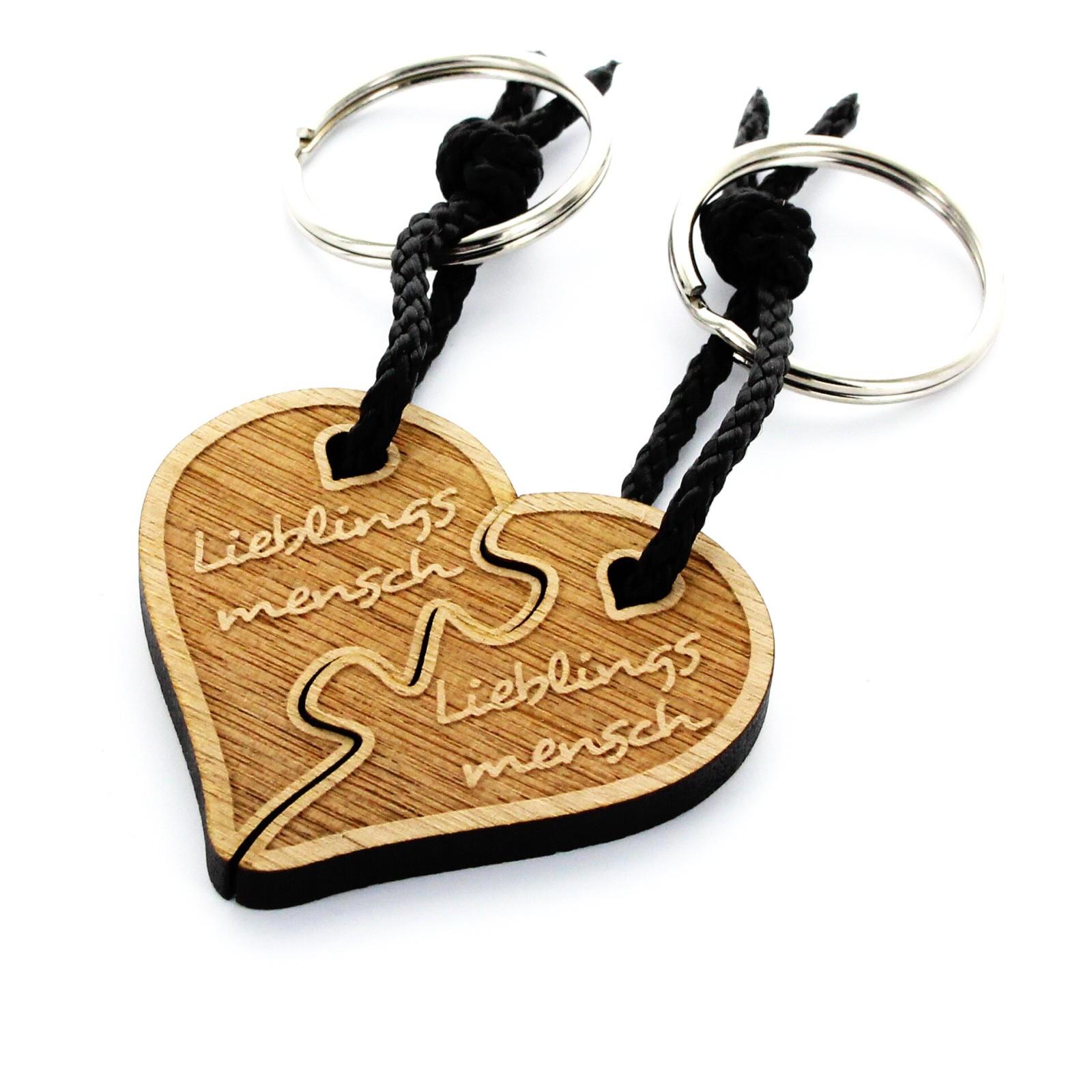 Holz Schlüsselanhänger Modell: geteiltes Herz Puzzle