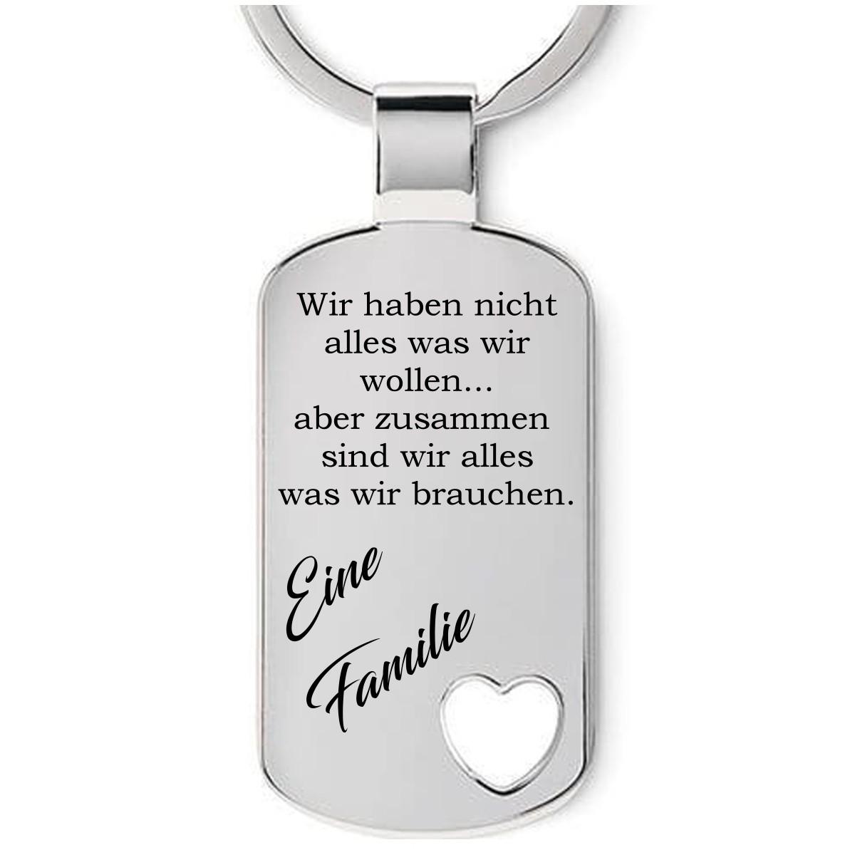 Familien Schlüsselanhänger mit Wunschtext Gravur auf Rückseite