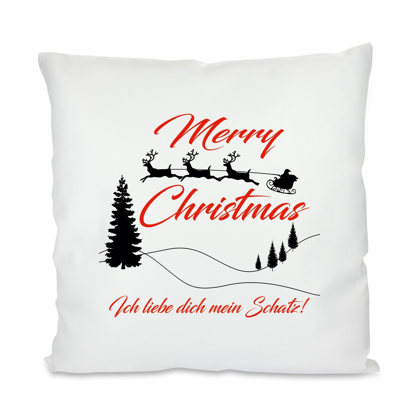 kissen mit motiv modell merry christmas personalisierbar. Black Bedroom Furniture Sets. Home Design Ideas