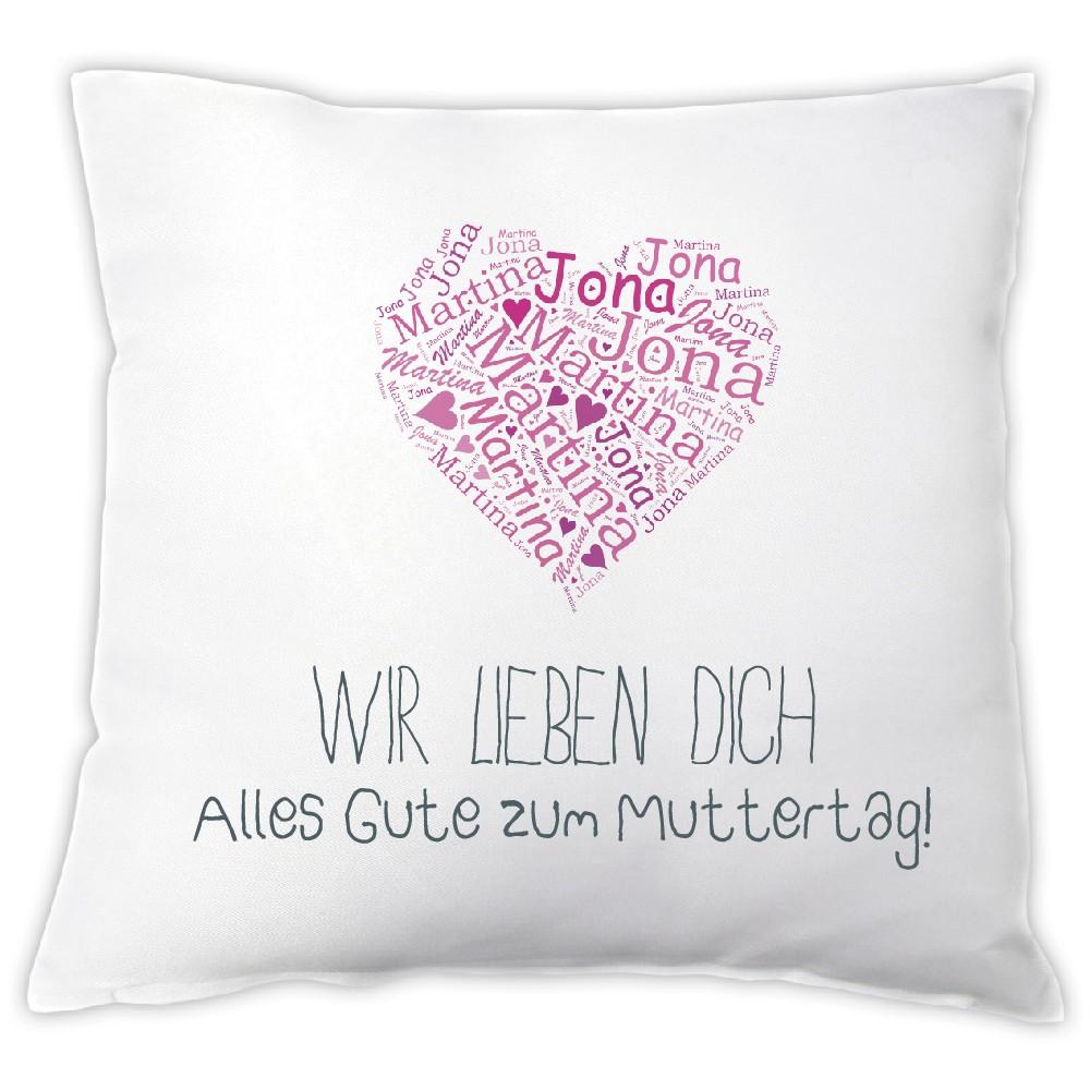 """Kissen """"Muttertagsherz aus Kinder Namen"""""""