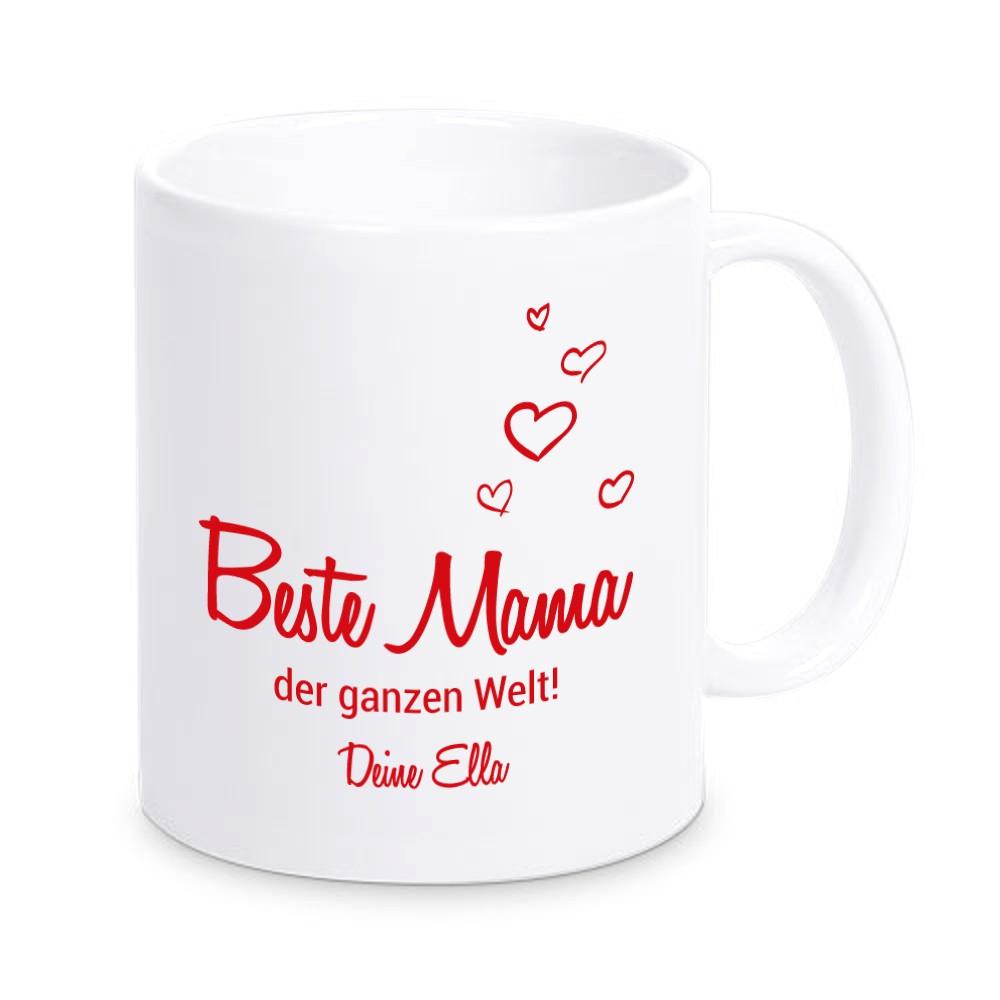 """Tasse """"Beste Mama der ganzen Welt!"""" mit Personalisierung"""