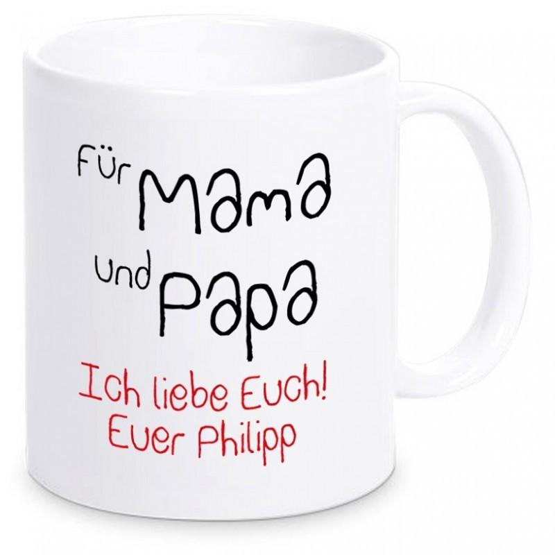 """Tasse """"Für Mama und Papa"""" mit Personalisierung"""