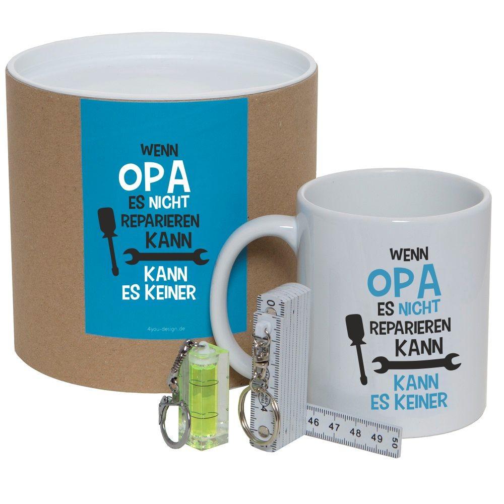"""Geschenkset / Dose """"Wenn Opa es nicht reparieren kann, kann es keiner"""" (Tasse, Mini-Wasserwaage & Zollstock)"""