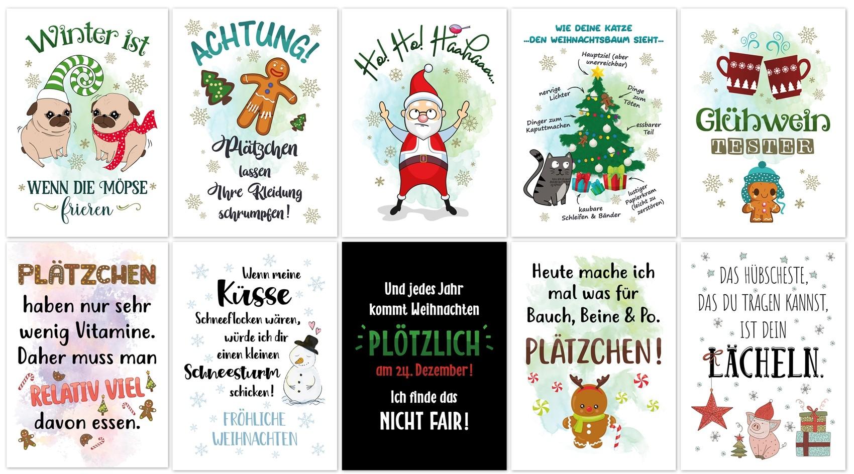Weihnachts-Postkarten, 10 Stück