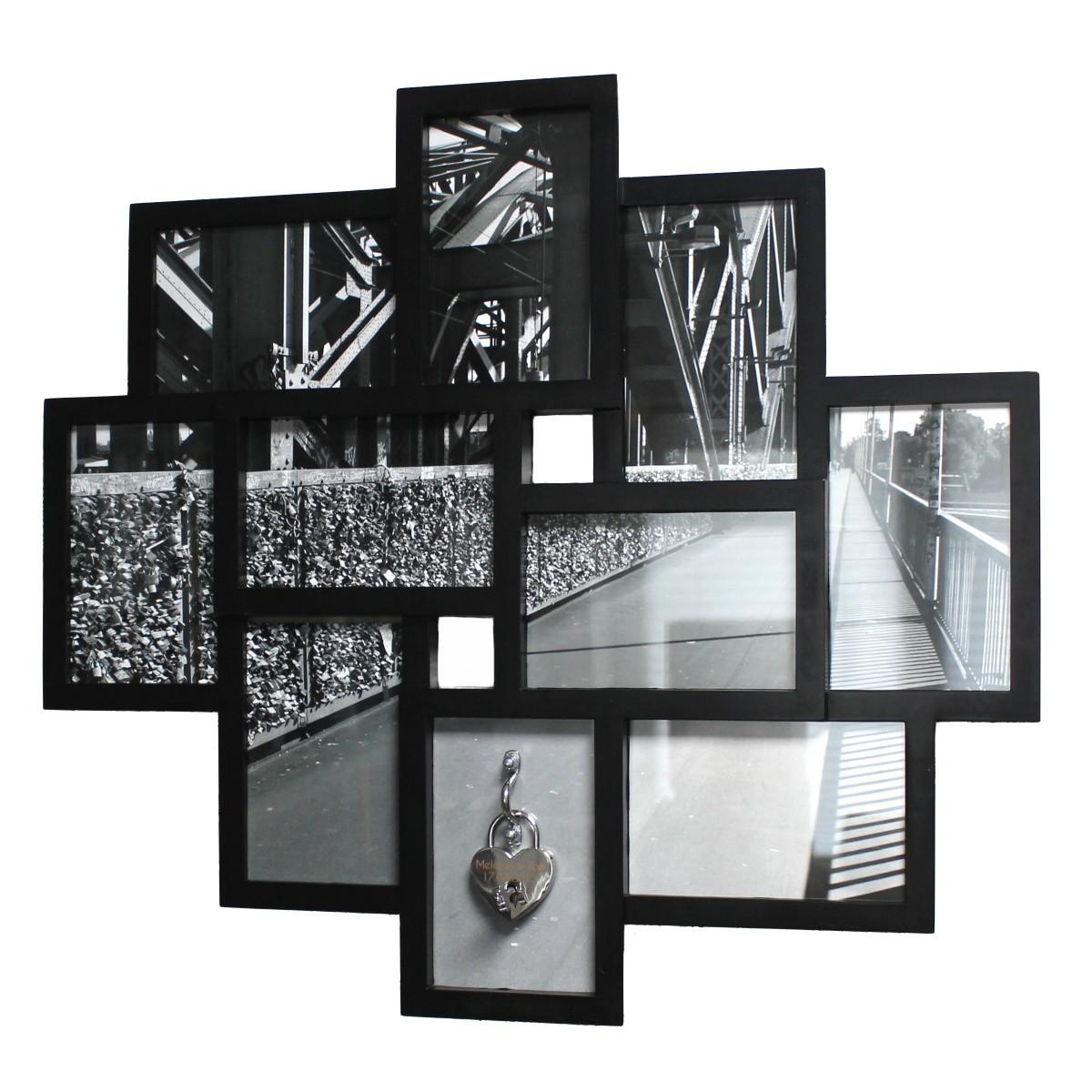 Liebesschloss Bilderrahmen - schwarz/weiß - mit Gravur ...
