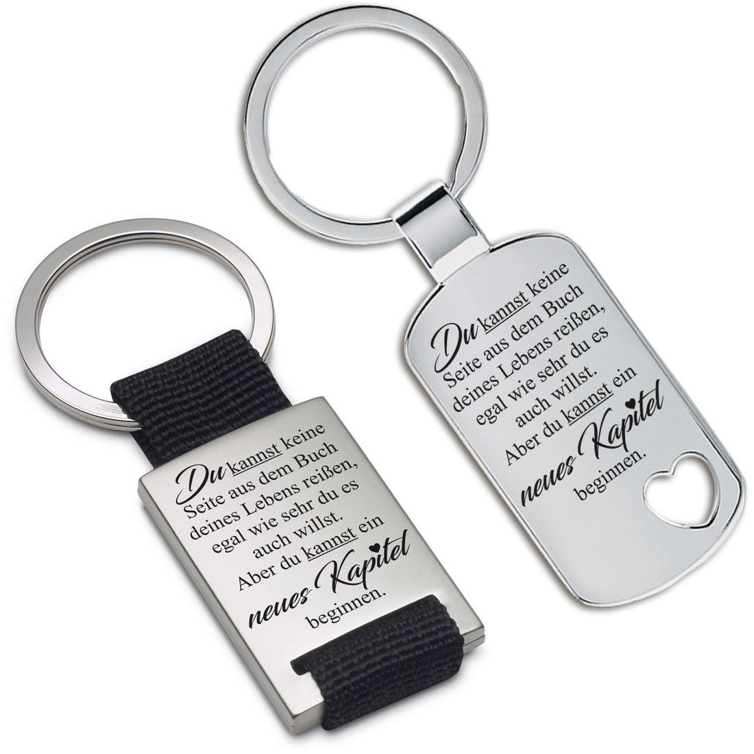 Metall Schlüsselanhänger - Du kannst keine Seite aus dem Buch deines Lebens reißen, egal wie sehr du es auch willst...