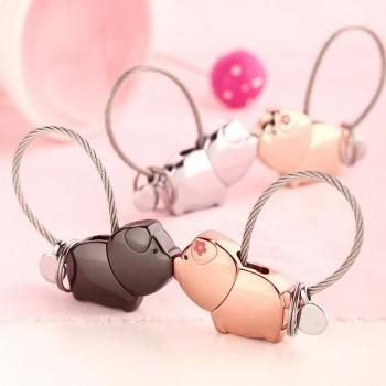 Partner Schlüsselanhänger küssende Schweinchen 1 Paar ( 2 Stück )