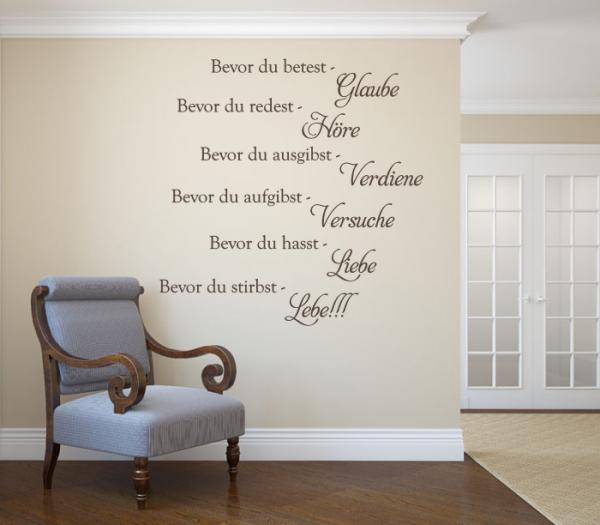 Wandspruch Die sechs goldenen Regeln des Lebens