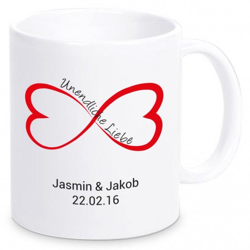 Tasse Unendliche Liebe mit Namen & Datum