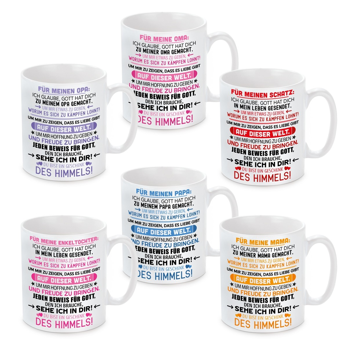 Tasse mit Motiv Modell: Für meine(n) Mama, Papa, Oma, Opa, Enkeltochter, Schatz